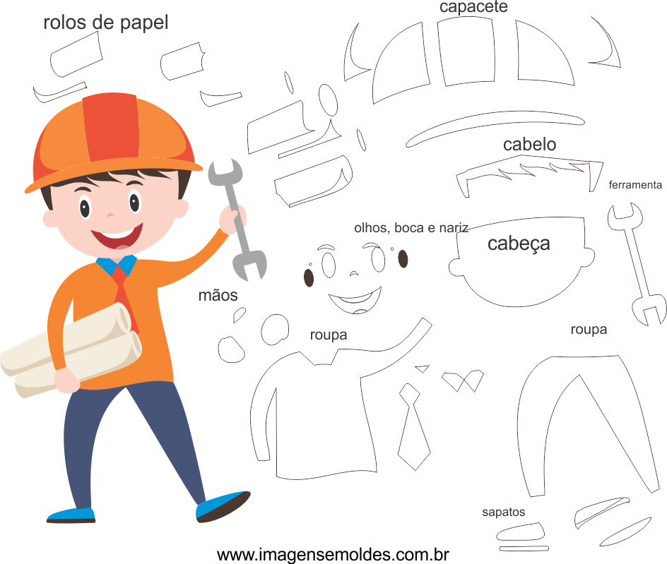 Molde de Engenheiro 1 para Eva, feltro e Artesanato, engineer mold, Ingenieur Schimmel, molde de ingeniero