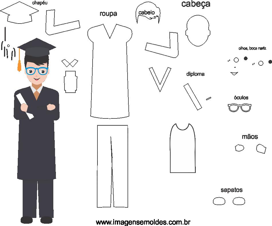 Molde de formatura 4 para eva, feltro e artesanato, molde de graduación, Abschlussform, graduation mold