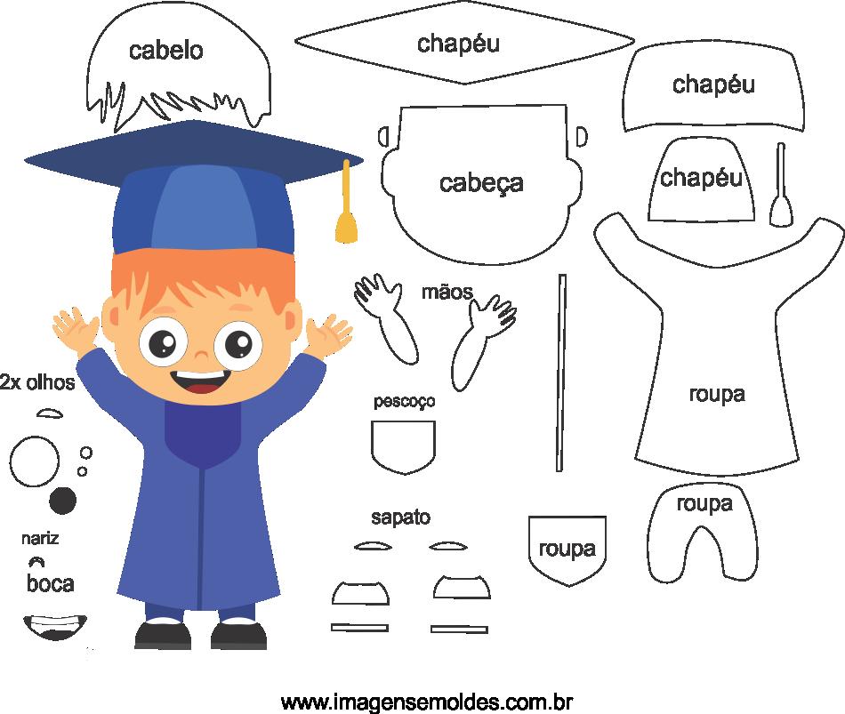 Molde de Formatura 5 para eva, feltro e artesanato, molde de graduación, Abschlussform, graduation mold