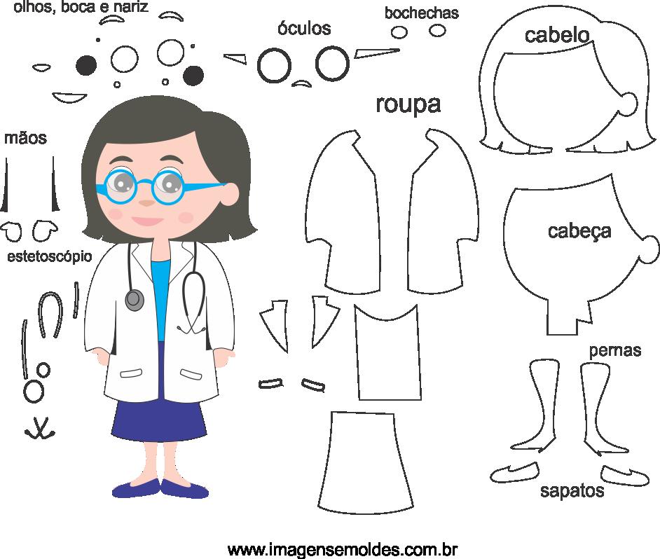 Molde de Médica 1 para eva. feltro e artesanato, doctor mold, Doktor Schimmel, la medicina