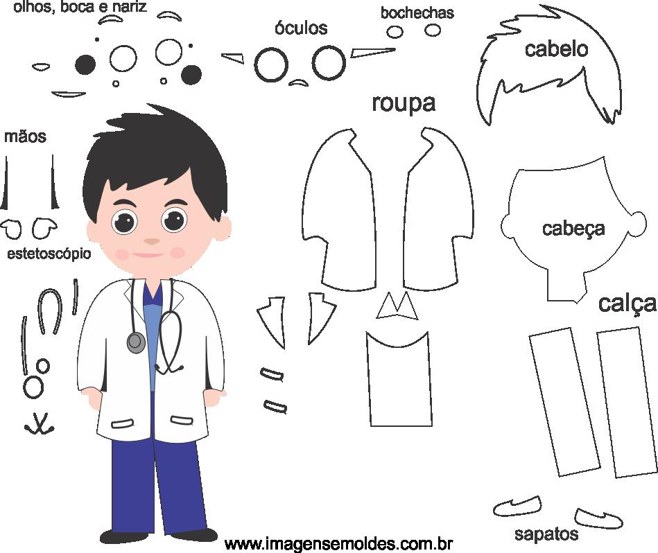 Molde de Médico 2 para eva, feltro, e artesanato, doctor mold, Doktor Schimmel, la medicina