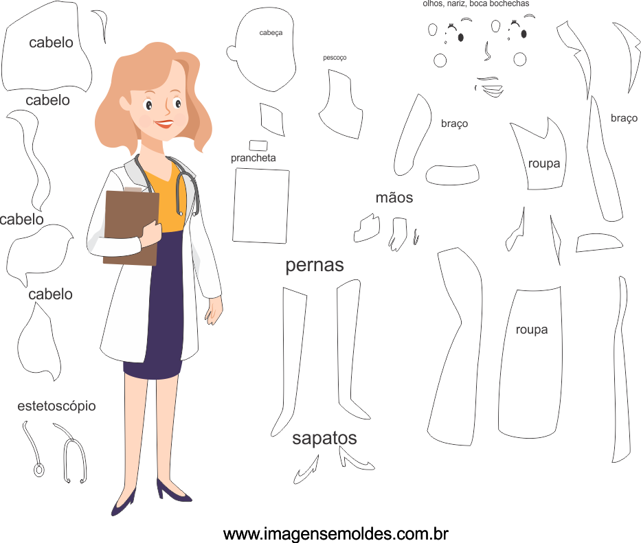 Molde de Médico 6 para Eva, Feltro e Artesanato, doctor mold, Doktor Schimmel, la medicina