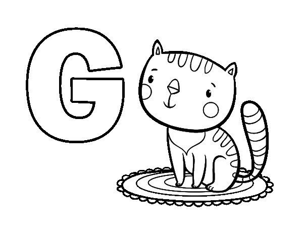 Desenho Para Colorir Da Letra G De Gato