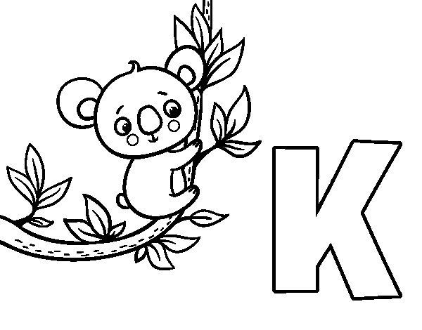 Desenho Para Colorir Da Letra K De Koala