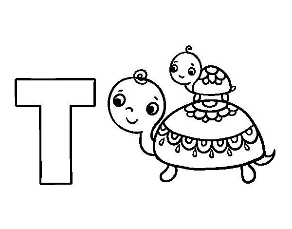 Desenho Para Colorir Da Letra T De Tartaruga