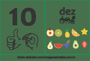 Imagens, Cartazes de Números em Libras - Número dez