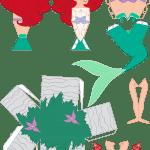 Molde Princesa Ariel Paper Craft PNG