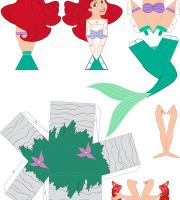 Molde Princesa Ariel Paper Craft