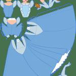 Molde Princesa Cinderela Paper Craft PNG e Vetor