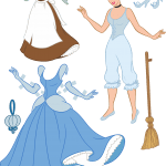 Molde Princesa Cinderela Paper Craft Roupas PNG e Vetor