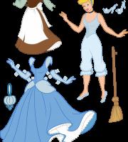 Molde Princesa Cinderela Paper Craft Roupas PNG