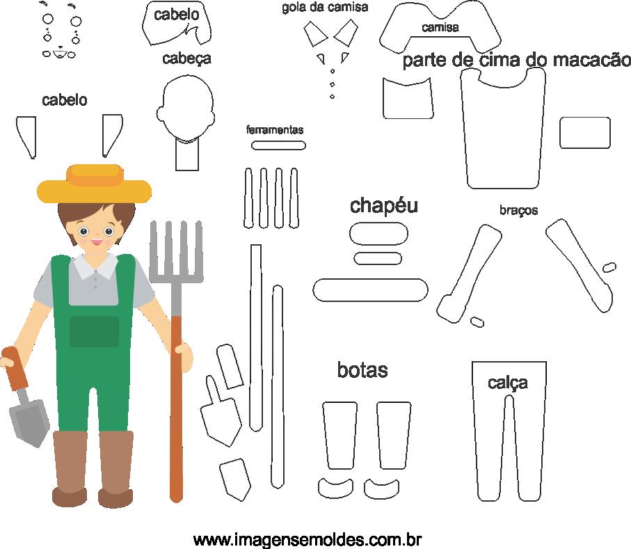 Molde de Agrônomo 1 para Eva, Feltro e Artesanato, Agronomist Mold, Agronom Schimmel, Molde agrónomo