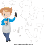 Molde de Barbeiro1 para Feltro, Eva e Artesanato