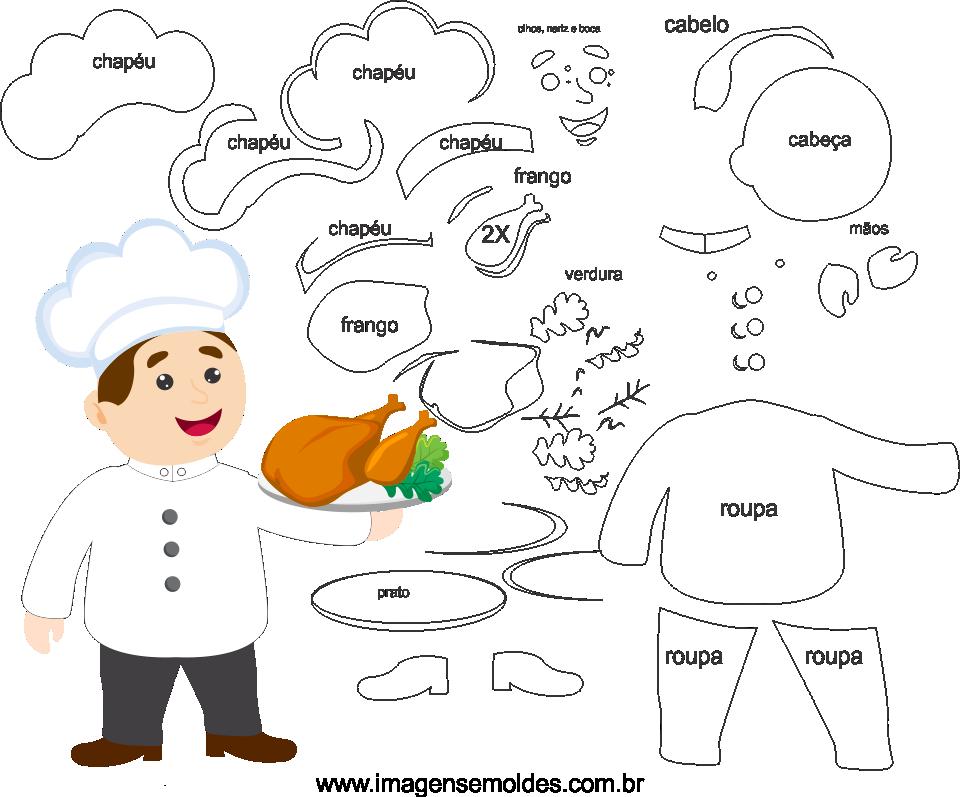 Molde de Chefe de Cozinha 1 para Eva, feltro e artesanato, Chef Mold, Chef Schimmel, Chef molde