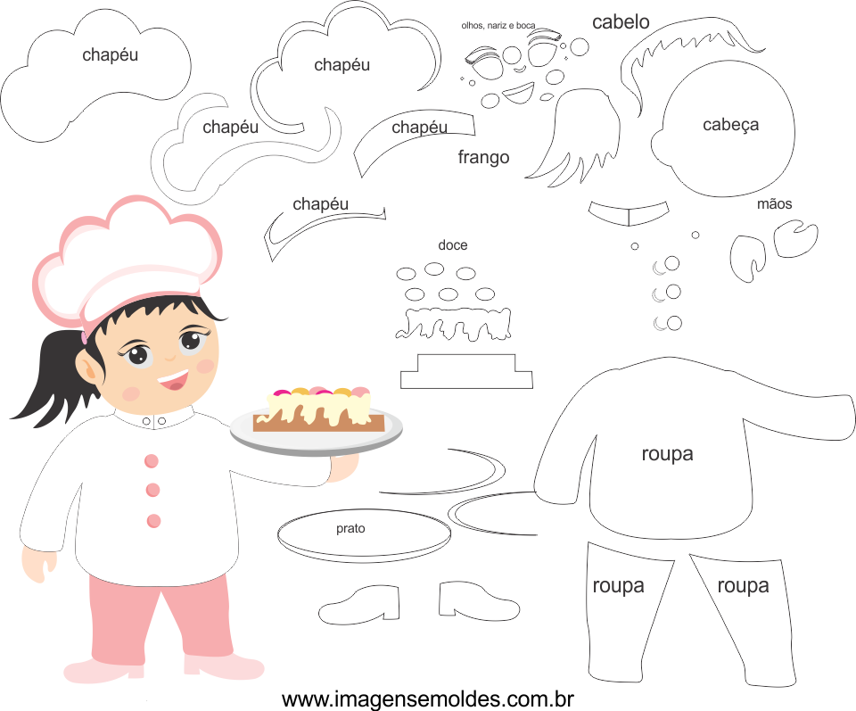 Molde de Chefe de Cozinha 2 para Eva, Feltro e Artesanato, Chef Mold, Chef Schimmel, Chef molde