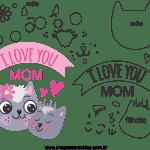 Molde de dia das mães 8 para feltro, eva e artesanato