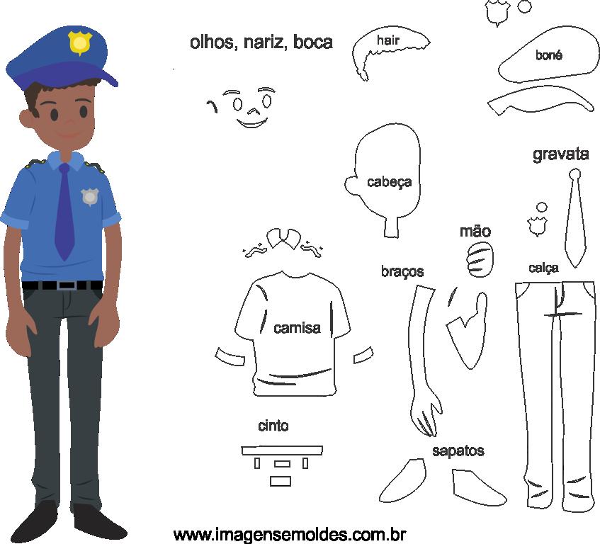 Molde de Guarda 2 para Eva, Feltro e Artesanato, Polizei Schimmel, police mold, molde policial
