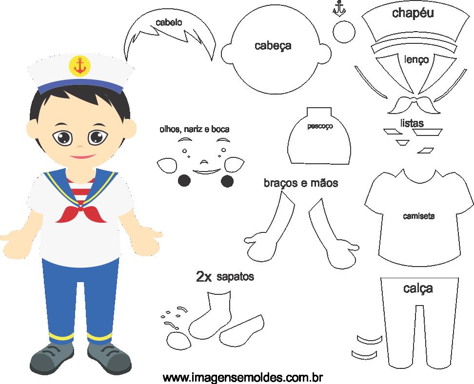 Molde de Marinheiro 1 para Eva, Feltro e Artesanato,  Molde marinero, Matrosenform, Molde marinero