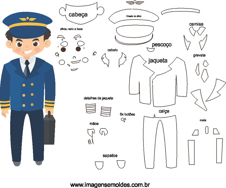 Molde de Piloto 1 para Eva, Feltro e Artesanato, molde piloto, pilot mold, Pilotform