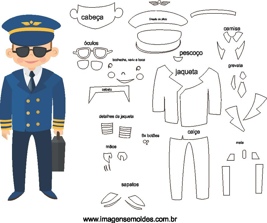 Molde de Piloto 2 para Eva, Feltro e Artesanato, molde piloto, pilot mold, Pilotform