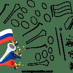Molde de Copa do Mundo 6 para Feltro, Eva e Artesanato