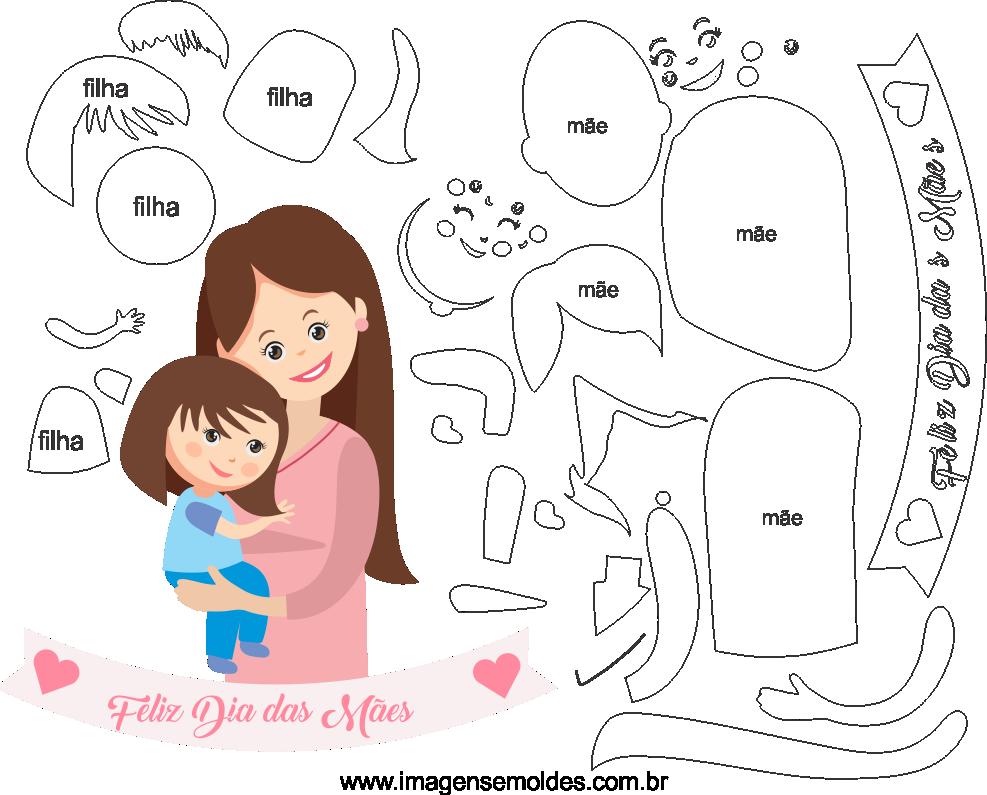 Molde de dia das Mães 33 para Eva, Feltro e Artesanato, mold day more days, Schimmel Tag mehr Tage, molde dia the mães