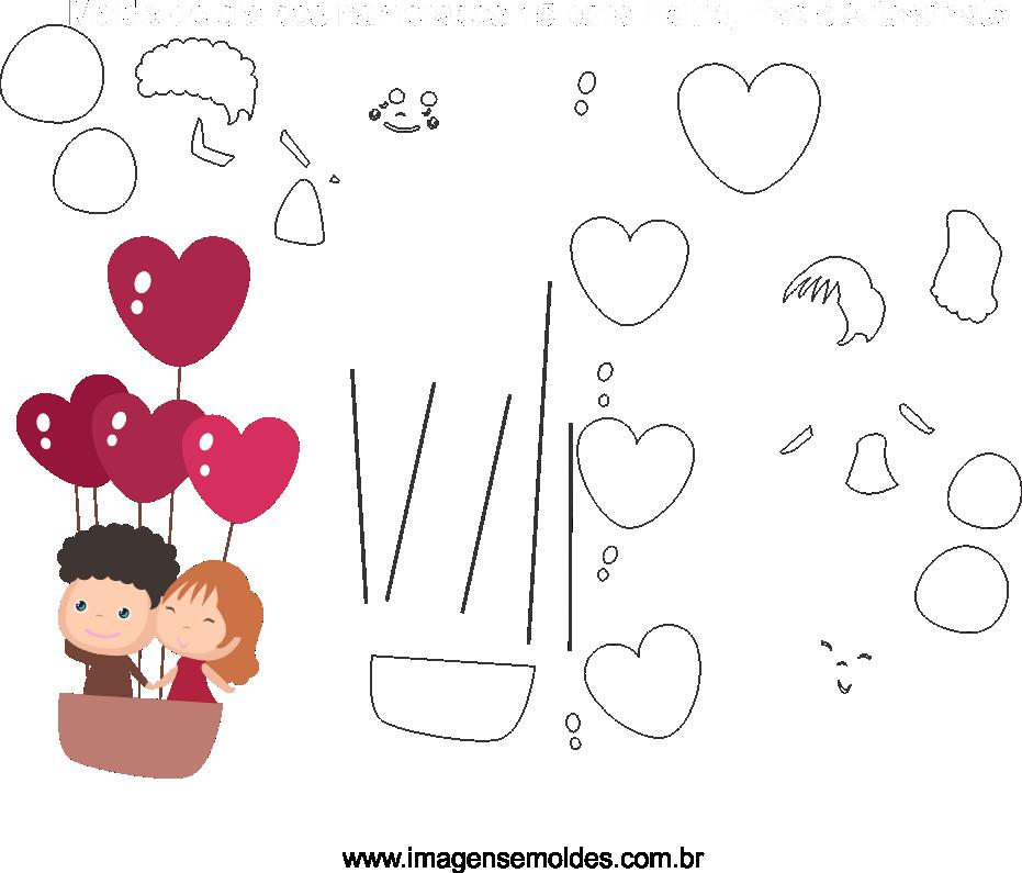 Molde de dia dos Namorados 15 para Eva, Feltro e Artesanato, Valentinstag Vorlage, plantilla de san valentín, valentine's day template
