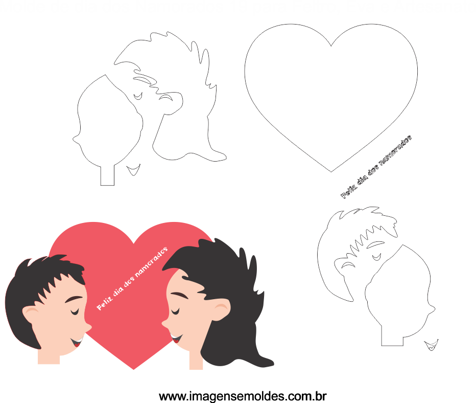 Molde Dia dos Namorados 19 para Eva, Feltro e Artesanato, Valentinstag Vorlage, plantilla de san valentín, valentine's day template