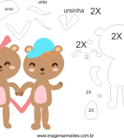 Molde de dia dos Namorados para Feltro, Eva, e Artesanato
