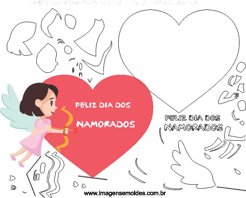 Molde Dia dos Namorados para Eva, Feltro e Artesanato, Valentinstag Vorlage, plantilla de san valentín, valentine's day template