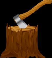 Árvores - Tronco com machado