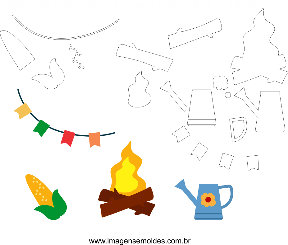 Molde de Festa Junina 1 para Eva, Feltro e Artesanato, Juni Party Schimmel, molde de fiesta de junio, june party mold