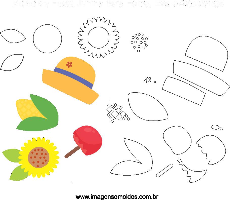 Molde de Festa junina 17 para Eva, Feltro e Artesanato, Juni Party Schimmel, molde de fiesta de junio, june party mold
