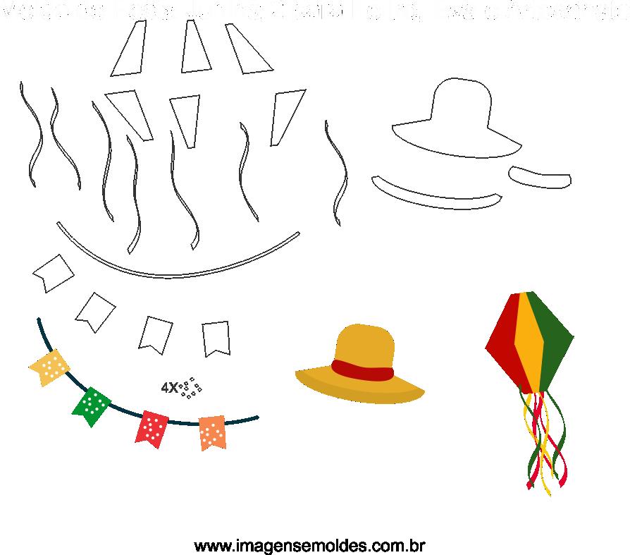 Molde de Festa Junina 2 para feltro, Eva e Artesanato, Juni Party Schimmel, molde de fiesta de junio, june party mold