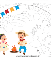 Molde de Festa Junina 6 para Eva, Feltro e Artesanato