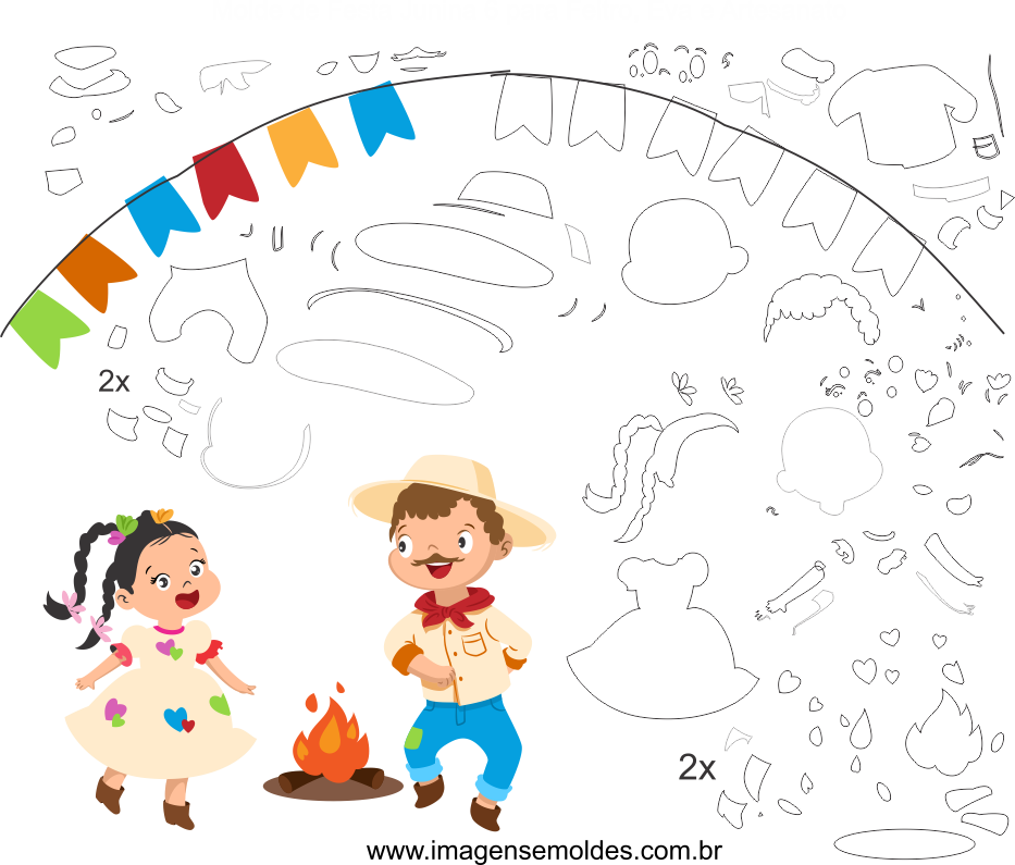 Molde de Festa Junina 6 para Eva, Feltro e Artesanato, Juni Party Schimmel, molde de fiesta de junio, june party mold