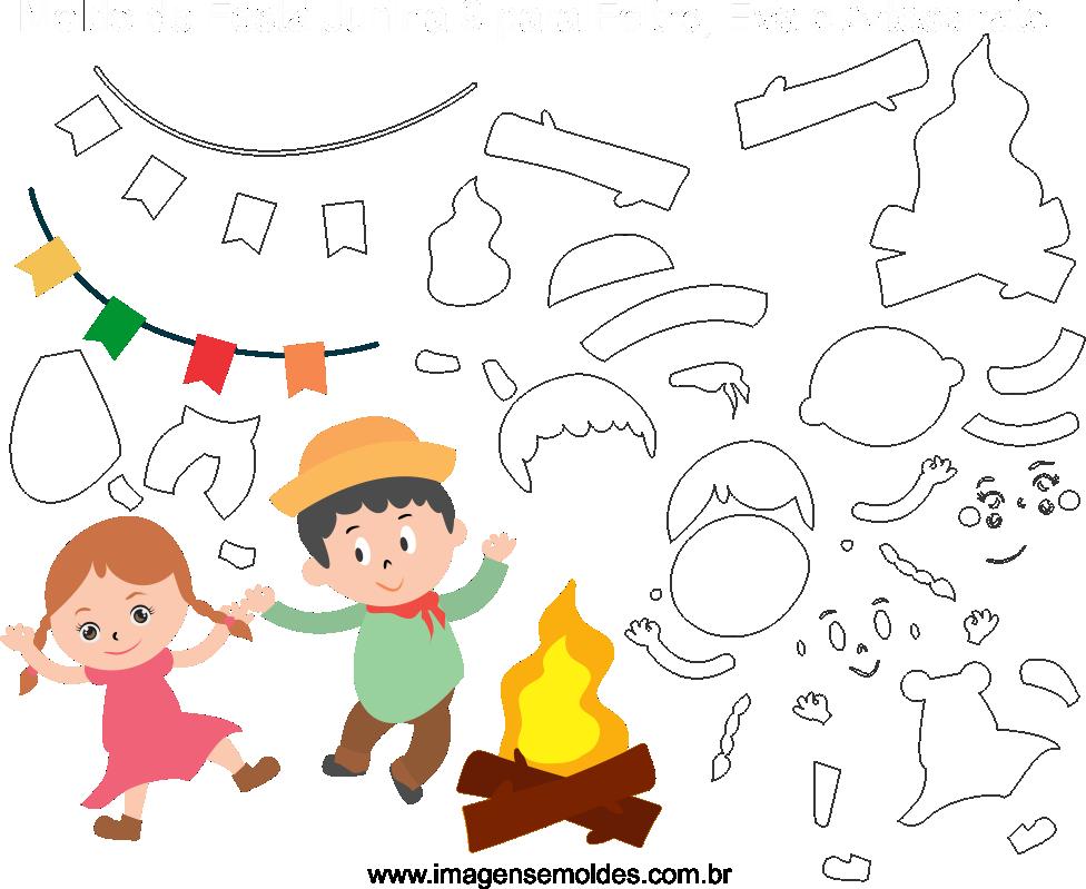 Molde de FEsta Junina 9 para Eva, Feltro e Artesanato, Juni Party Schimmel, molde de fiesta de junio, june party mold