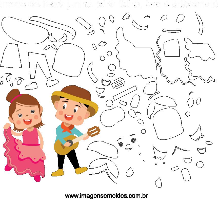 Molde de Festa Junina 15 para Eva, Feltro e Artesanato, Juni Party Schimmel, molde de fiesta de junio, june party mold