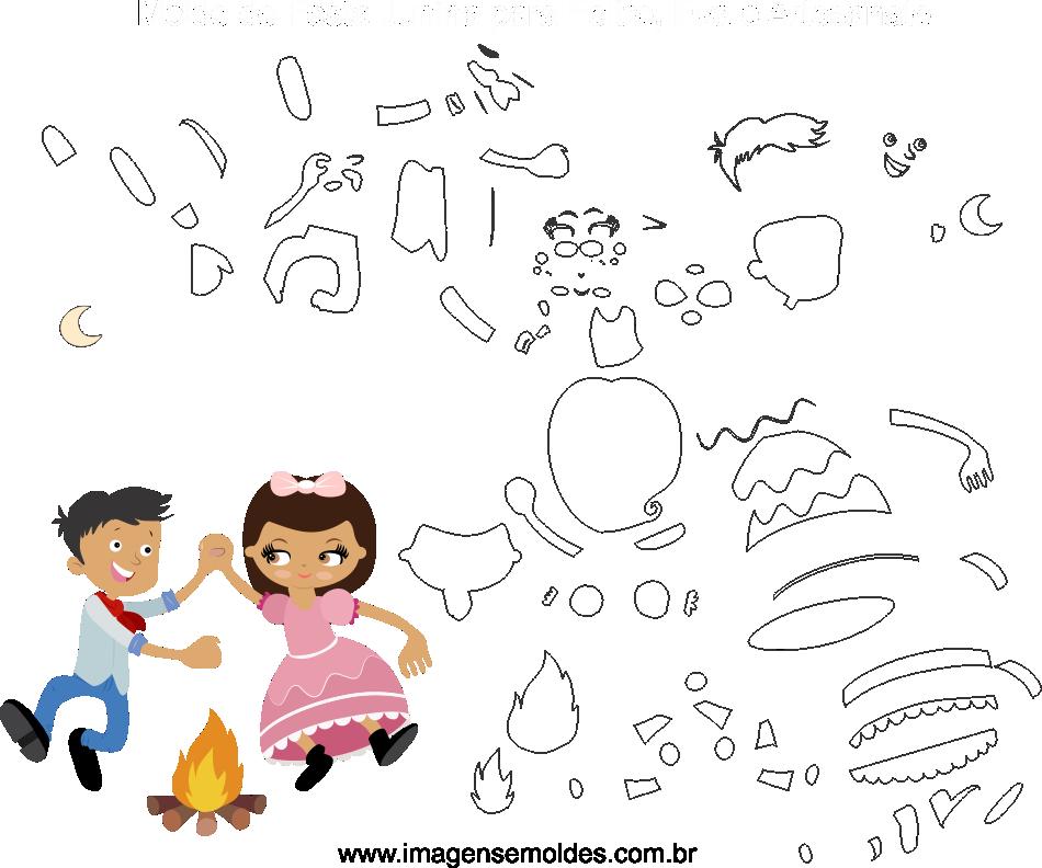 Molde de festa Junina 19 para Eva, feltro e Artesanato, Juni Party Schimmel, molde de fiesta de junio, june party mold