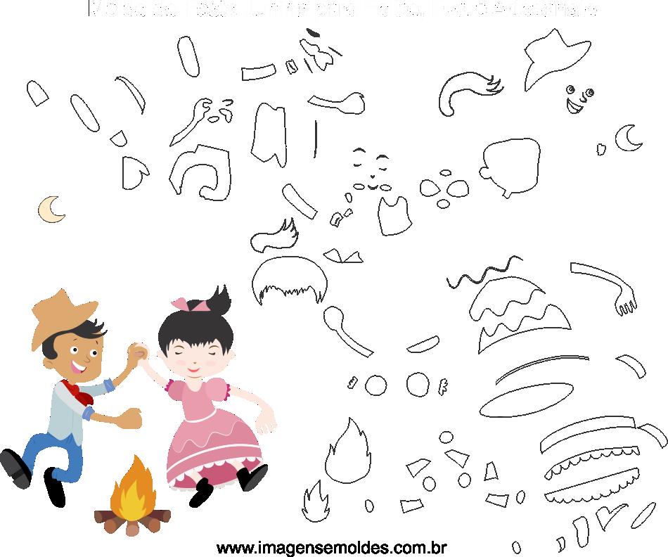 Molde de Festa Junina 20 para Eva, Feltro e Artesanato, Juni Party Schimmel, molde de fiesta de junio, june party mold