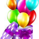 Imagem de Festa – Caixa surpresa com Bexigas de Aniversário PNG
