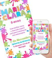 Convite Colorido Festa Slime