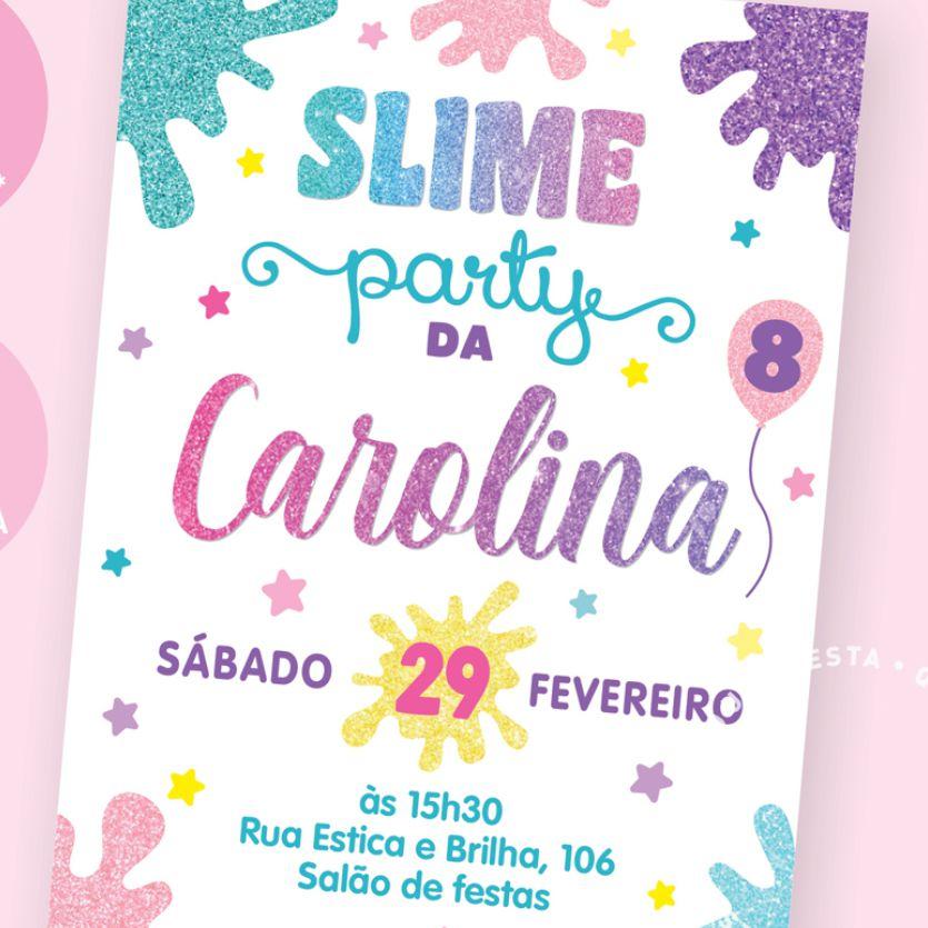 Convite Festa Slime, slime party, Schleim-Party Einladung, invitación de fiesta de limo, slime party invitation