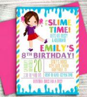 Convite festa Slime personalizado