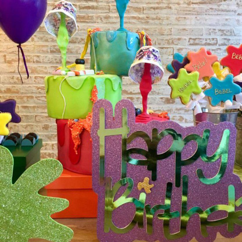 Decoração Festa Slime, Schleimparty, fiesta de limo, slime party