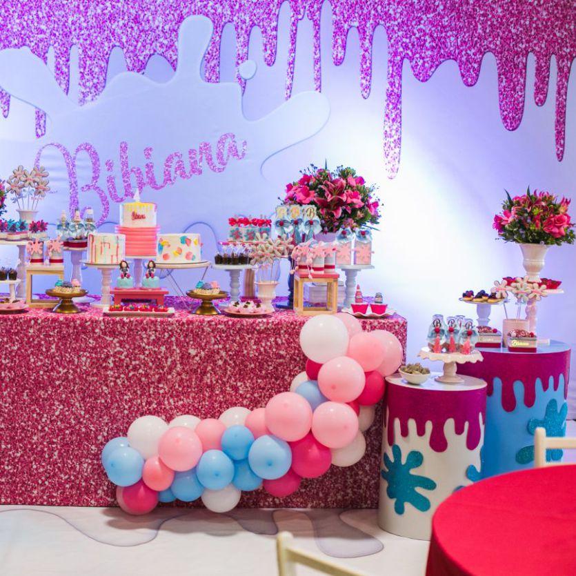 Decoração Festa Slime Glitter, Schleimparty, fiesta de limo, slime party