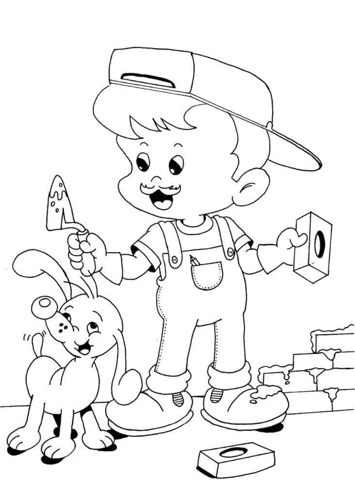 Desenho De Dia Do Trabalho Com Menino Construtor Para Colorir
