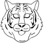 Desenhos para Colorir e Imprimir de Máscara de Tigre Branco
