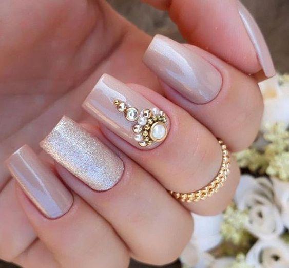 unhas decoradas para noivas com pedras - decorated nails for brides - uñas decoradas para novias - verzierte Nägel für Bräute