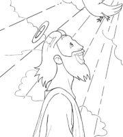 Desenho de Batismo de Jesus para colorir
